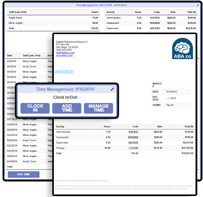 Screenshots of BIPTrack Time Management and Invoicing features